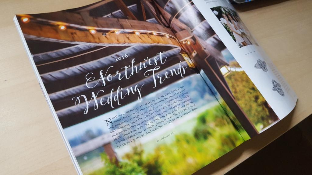 2016 Northwest Wedding Trends in 425 Magazine. The photo in the magazine is by Jon Anderson.